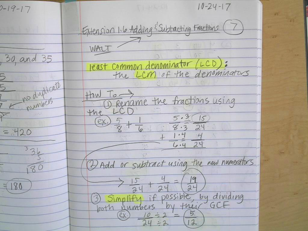 Extension 16 Adding And Subtracting Fractions Extension 16 Adding And  Subtracting Fractionsg Findingmon Denominator Howto