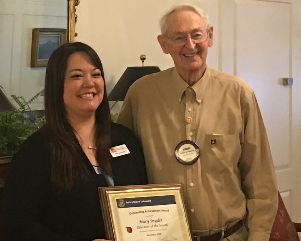 Mary Snyder presented award at Lakewood Rotary