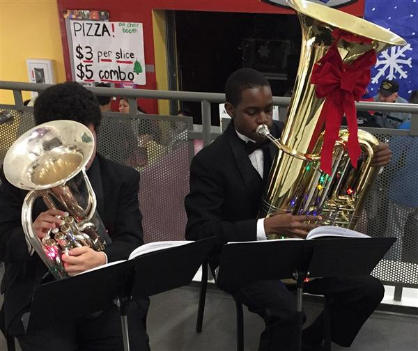 Two SHS musicians at the RR bazaar